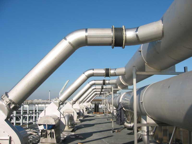 Montaggio condotti in acciaio inox, depurazione aria biofiltri